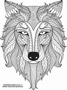 wolf from quot awesome animals volume 6 quot mandala coloring pages printable adult coloring pages