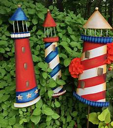 metal lighthouse garden stakes wall decor red white blue theholidaybarn com