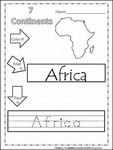 color read trace it continents worksheets geography
