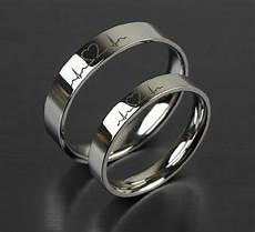 men s women s heartbeats couple band ring set 14k white