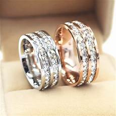silver rose gold titanium steel double row cz rings for women men stainless steel crystal zircon