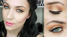 maquillage bronze orange parfait pour les yeux bleus