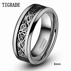 6mm 8mm men black tungsten carbide ring wedding band silver celtic dragon inlay polished finish