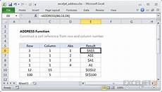 how to use the excel address function exceljet