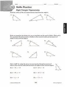13 1 skills practice right triangle trigonometry 10th 12th grade worksheet lesson planet