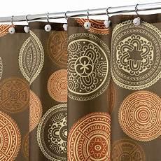 Brown And Orange Shower Curtain shower curtain bazaar medallion brown orange spice ebay