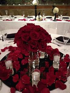 glamorous red rose centerpiece low centerpieces red