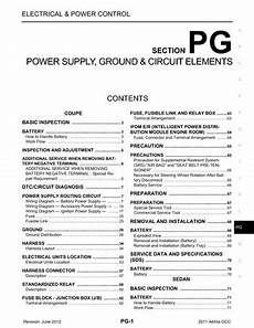 2011 altima fuse diagram 2011 nissan altima power supply ground circuit elements section pg pdf manual 142 pages