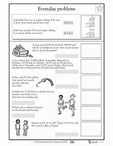 word problems with rounding decimals worksheets 7585 decimal decimals worksheets and worksheets on