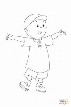 caillou is waiting to be painted coloring page free
