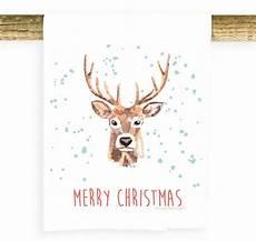 merry christmas deer watercolor potluck press