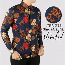 jual baju kerah koko batik pria slimfit ada saku depan lengan panjang premium 05 di lapak