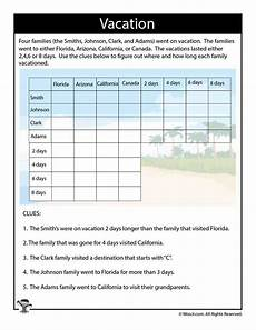 logic puzzles printable worksheets 10850 on vacation difficult logic puzzle woo jr activities summer worksheets logic puzzles