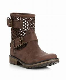 steve madden flank cut out biker boots in brown lyst
