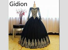 Robe De Soiree black gold lace ball gown long sleeve prom
