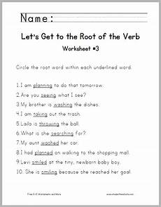 root of the verb worksheet 3 student handouts
