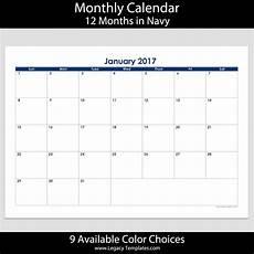2017 12 Month Landscape Calendar A4 Legacy Templates