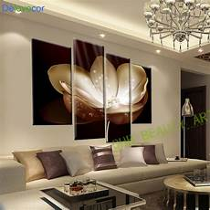 living room wall painting 4 panel gold flower printed painting canvas picture wall