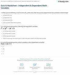 quiz worksheet independent dependent math variables study com