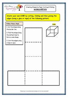 grade 3 maths worksheets 14 6 geometry creating shapes by paper folding and cutting lets