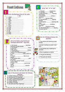 practicing present continuous worksheet free esl