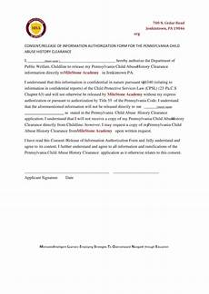 consent release of information authorization form for the pennsylvania child abuse history