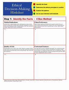 ethical decision making worksheet