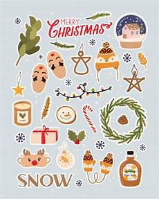 merry christmas holiday lettering and traditional christmas elements big vector for