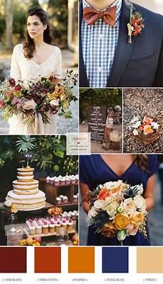chocolate brown terra cotta pumpkin wheat and royal blue autumn wedding fall wedding