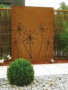 garten sichtschutz modern cortenstahl sichtschutz pusteblume