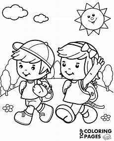 happy summer holidays coloring pages printable 17614 happy children on summer trip on quality coloring page sheet