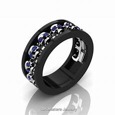 mens modern 14k black and white gold blue sapphire skull channel cluster wedding ring r913