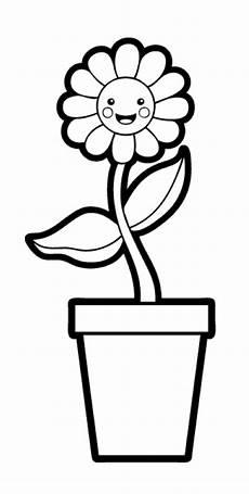 Ausmalbilder Blumen Im Topf Kostenlose Malvorlage Blumen Blumentopf Zum Ausmalen