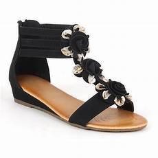 elegante damen sandalen 97422 lederoptik flach blumen