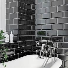 Metro Black Bevel Gloss Tile 100mm X 200mm Victoriaplum