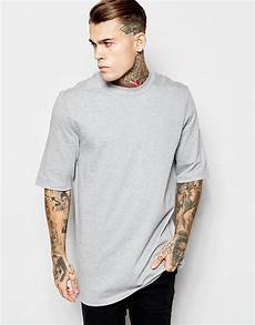lyst asos longline t shirt with half sleeve and