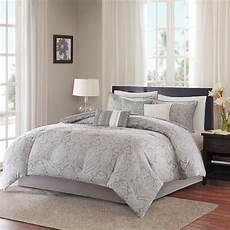 beautiful 7pc modern elegant light grey white scroll comforter pillows ebay