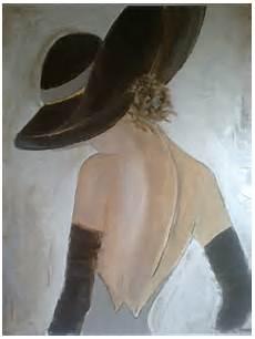 peinture femme moderne tableau peinture personnage femme chapeau moderne