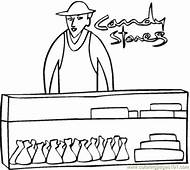 Candy Shop Coloring Page  Free Desserts Pages