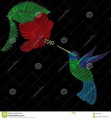 Malvorlage Vogel Mit Blume Stickereikolibri Exotischer Tropischer Vogel Mit Hibiskus