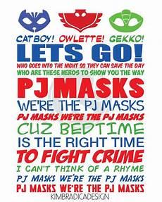 Pj Mask Malvorlagen Lyrics Pj Masks Theme Song 8x10 Digital Print