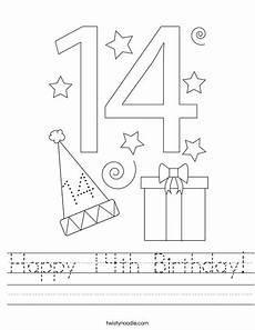 happy 14th birthday worksheet twisty noodle