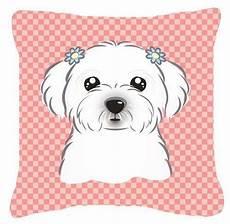 checkerboard pink maltese canvas fabric decorative pillow