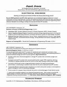 entry level electrical engineer sle resume monster com