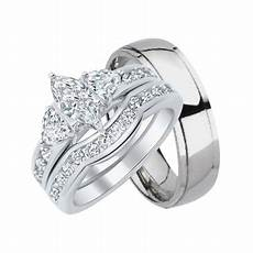 laraso co his and hers wedding ring set matching trio wedding bands for him titanium and