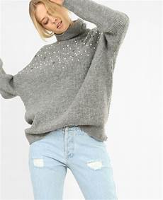 Oversize Pullover Mit Perlen Grau Meliert 409390830j08
