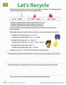 algebra in everyday life let s recycle worksheet education com