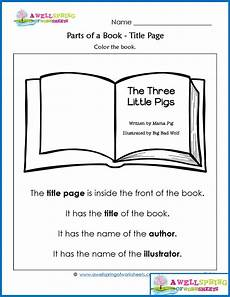 parts of a book worksheets vocabulary cards parts of a book kindergarten books