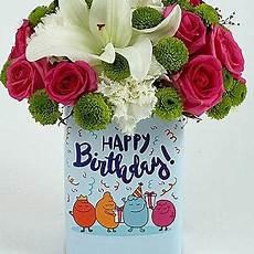 happy birthday mixed flowers arrangement gift birthday
