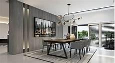 Esszimmer Grau Holz Esstisch Teppich Konleuchter